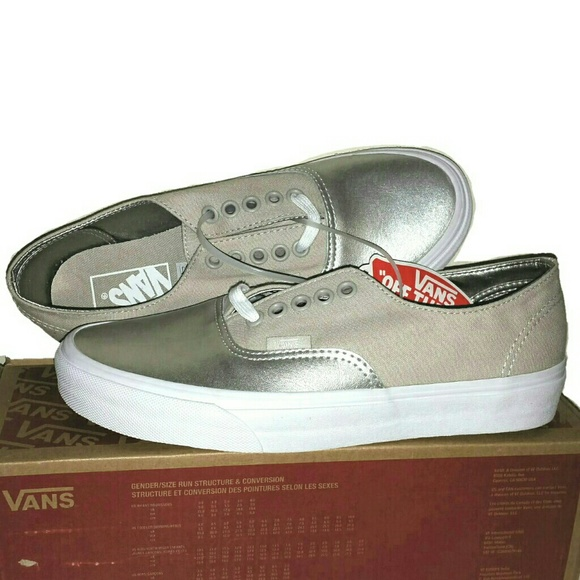 8347bf3d1e3ac8 NEW Vans Authentic Decon Metallic Canvas Silver 8